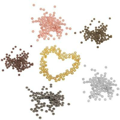 100pcs 4mm Daisy Flower Snowflake Spacer Beads For Jewellery Making