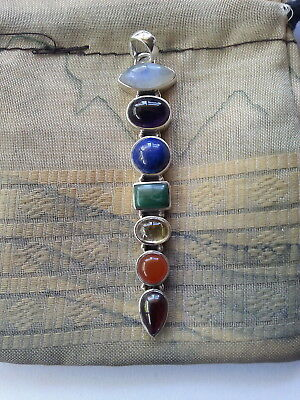 612 XLG Chakra pendant Solid 925 Sterling Silver 7 genuine gemstones rrp$99.95