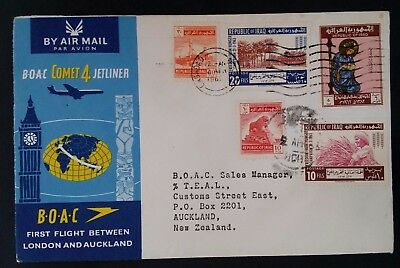 1963 Iraq BOAC Comet 4 Jetliner 1st Flight London - Auckland Cover ties 5 stamps