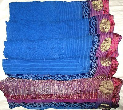 USED BUT WEARABLE CHIFFON Vintage Sari Saree Gc3 3d Blue Magenta 5 yds #ABFPG