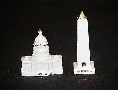 Vintage Silberne Washington DC Salt Pepper Shakers Capital Building & Monument