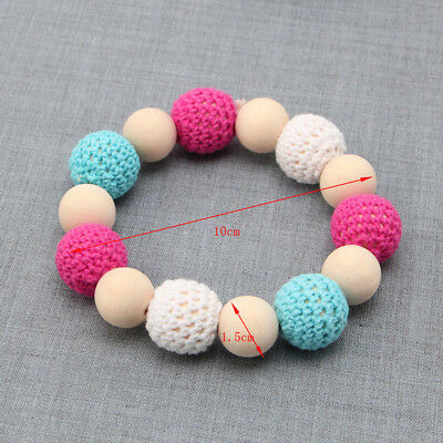 Baby Hand Made Wooden Crochet Nursing Toy Teething Bead Colorful Bracelet NEW