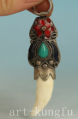 Chinese Old Tooth Inlay Tibet sILVER Cloisonne Statue Pendant