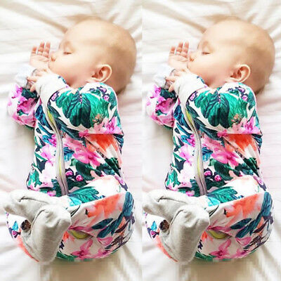 US Stock Newborn Baby Girls Floral Long Sleeve Romper Jumpsuit Clothes Outfits