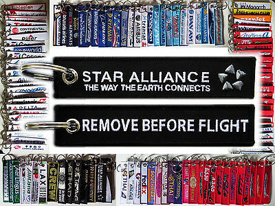 Keyring STAR ALLIANCE Remove Before Flight tag keychain Way the earth connects