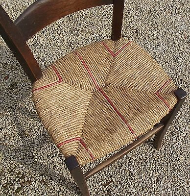 Antique Vintage French chair woven straw seat oak frame Van Gogh Classic