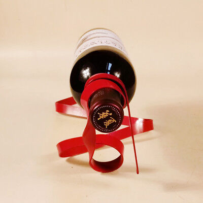 1Pc New Novelty Iron Bottle Holder Suspended Ribbon Wine Rack Suspension Stand