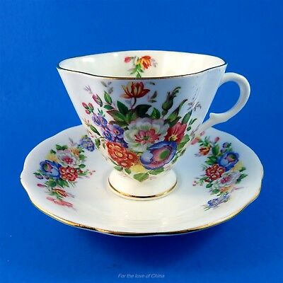 Colorful Floral Bouquet Windsor Tea Cup and Saucer Set