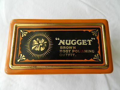 Vintage  Nugget  Brown  Boot  Polishing  Outfit  Tin.