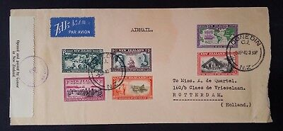 SCARCE 1940 New Zealand Airmail Cover ties 6 stamps canc Auckland to Rotterdam