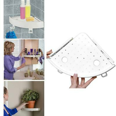 Bathroom Snap Up Corner Shelf Rack Triangle Polymer Grip Storage Mount Holder EL