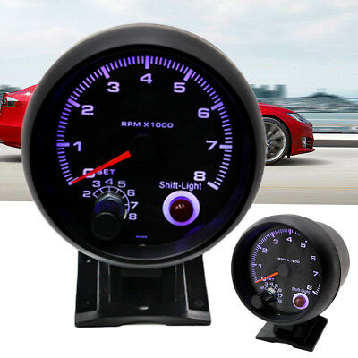 Universal 12V 3.75'' 95mm Car Tachometer Tacho Gauge W/LED Blue Light 0-8000 RPM
