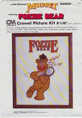 VINTAGE : MUPPET DESIGN - FOZZIE BEAR - CREWEL PICTURE KIT- 20cm  PROJECTS-----