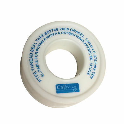 White PTFE Tape Seal Sealing Fitting Plumbing Pipe Threads Connect 12mm x 12mtr