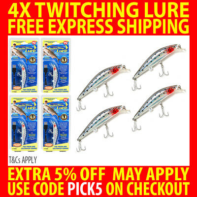 4X Genuine Twitching Fishing Lure Rechargeable Saltwater Fish Bait + Usb Charger