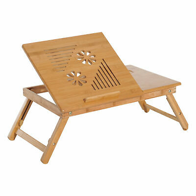 Foldable Bamboo Laptop Stand Lapdesk Notebook Desk Cooling Table w/ Drawer