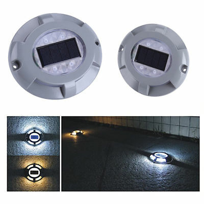 Solar 4 LED Road Stud Light Pathway Deck Dock Driveway Garden Waterproof Lamp HG