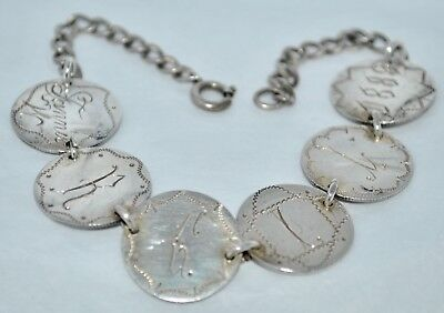Vintage Silver 1889 Love Token Coin Bracelet 6 Engraved Coins w/Name & Year
