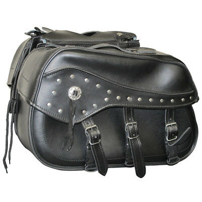 Custom Motorbike Motorcycle Touring Studded Panniers Saddlebags Black Pair
