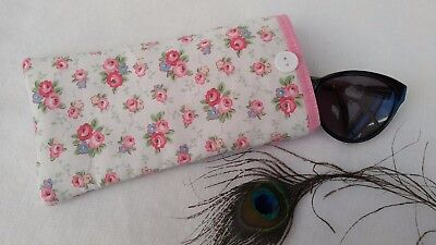 Handmade Floral Pink Disty Foral White Padded Glasses Sunglasses Case Lining