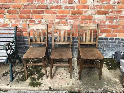 Fantastic Set Of 3 Antique Church/ Chapel Chairs