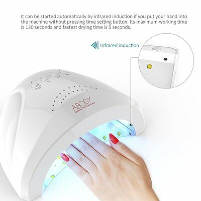 Abody SUNone 48W-24W LED UV Nail Dryer White Light Nail Lamp w Timer Finger Toe