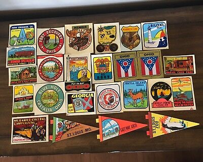 Huge Lot of Vintage Old Travel Decal Stickers