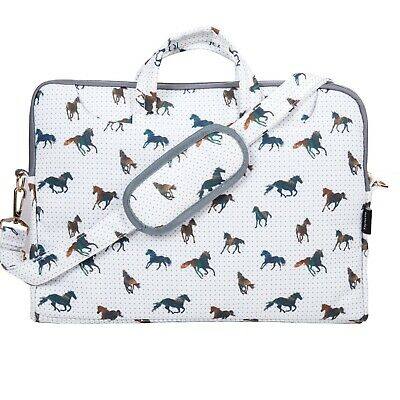 "TaylorHe 15.6"" Canvas Laptop Shoulder Bag Carry Case Handles Strap Horses CF05"
