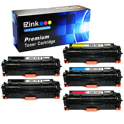 5 Pack Compatible Canon 118 Black Cyan Magenta Yellow Toner Cartridge Set