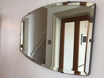 Vintage Frameless Mirror Bevelled Edge Scandi Art Deco 1930s 1940s 51X30cm
