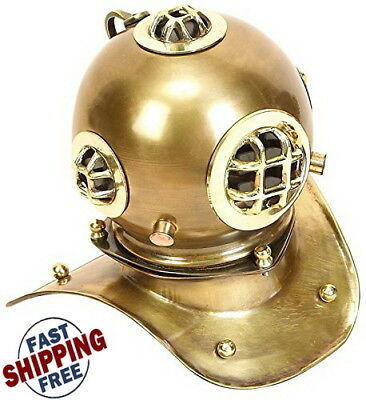 "Vintage Collectible Brass Scuba Diving Divers Helmet Mark Solid Brass 8"" USA"