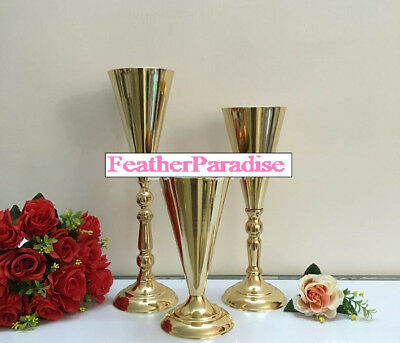 Excellent Tall Gold Vase 17 Inches Polished Metal Trumpet Vase Wedding Centerpiece Vases Download Free Architecture Designs Scobabritishbridgeorg