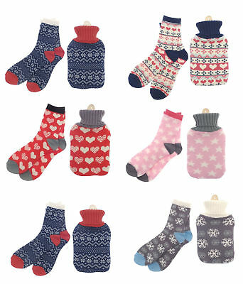 Cosy Hot Water Bottle with Knitted Cover and Bed Socks Gift Set (Design Choice)