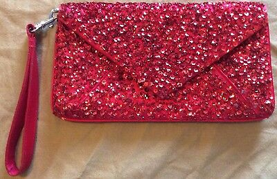 La Regale Red Sequence Purse Evening Bag Clutch Bridal Prom Wedding Pageant