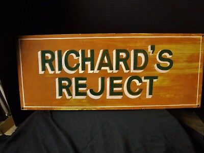 Great RICHARD'S REJECT  Vintage Painted Tin Sign 1960's 10x25
