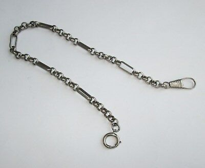 "11"" long VINTAGE ANTIQUE NICKEL PLATED CHAIN FOR POCKET WATCH"