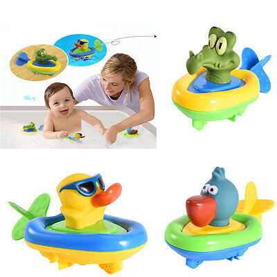 Animal Baby Bathroom Pull Back and Go Wind Up Water Float Boat Bath Toys Hot