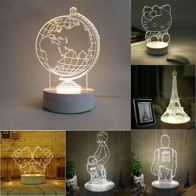 3D Acrylic Colorful LED Night Light Touch Illuminated USB Desk Lamp Gift 50000 H