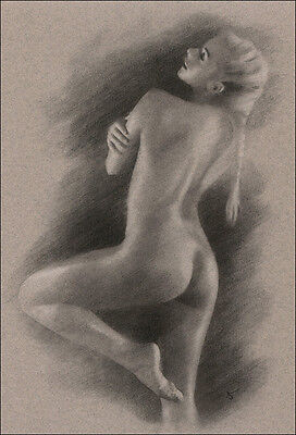 Classical Female Nude ORIGINAL DRAWING Charcoal Realistic Art signed NO RESERVE