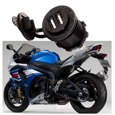 12V Waterproof Dual USB Port Motorcycle Car Cigarette Lighter Socket Charging