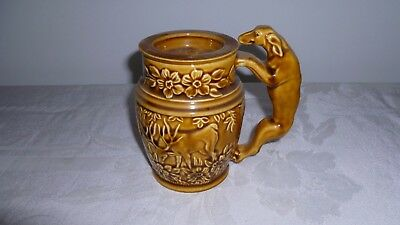 2-Piece Rockingham Harker 1840 Hound Dog/Stag Deer Brown Glaze Hunters Stein Mug