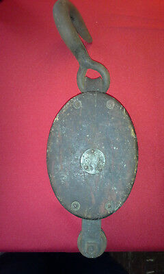 Vintage Large Star Brand Wooden Single Pulley Block/Tackle Nautical/Steam Punk