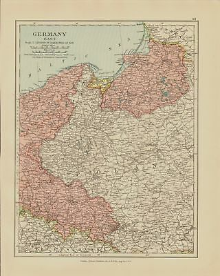 Edward Stanford Map  1920 . Germany East