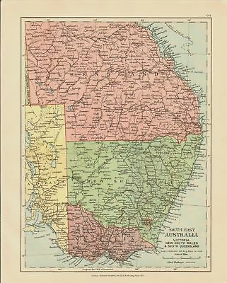 Edward Stanford Map  1920 . South East Australia