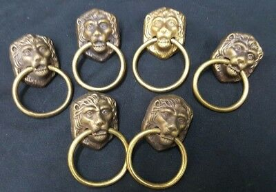 Vintage Brass Lionhead Draw Pulls With Rings Set of 6