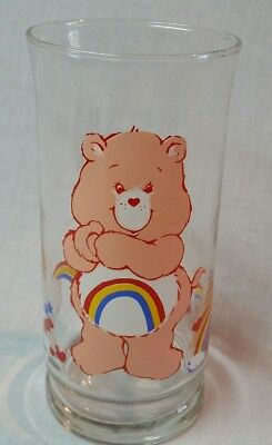 1983 Care Bears Cheer Bear Collectible Pizza Hut Glass- Vintage- Free Shipping