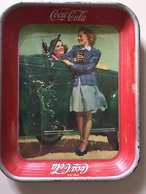 """1942 Coca Cola """"Two Girls with a Roadster"""" tray"""