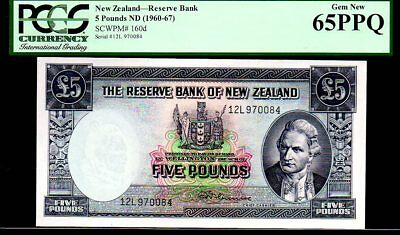 "NEW ZEALAND P160d ""CAPTIAN COOK!"" 5 POUND 1960-67ND PCGS 65PPQ"