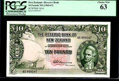 "NEW ZEALAND P161d  ""CAPTIAN COOK!"" 10 POUND 1960-67ND PCGS 63"