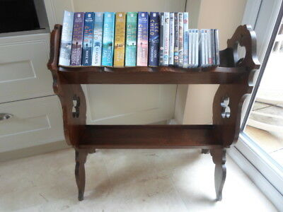 Edwardian mobile book shelves, 2 tier book trough on wheels, library, cut out